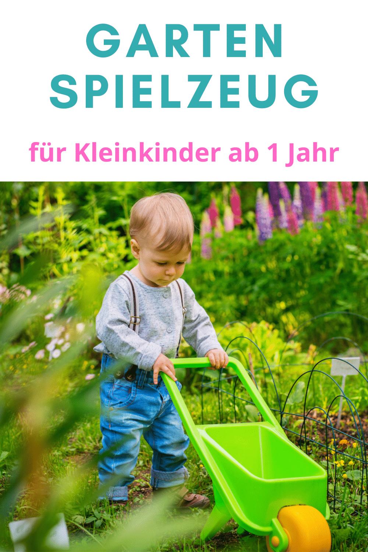 Pinterest-Bild: Junge mit Schubkarre im Garten