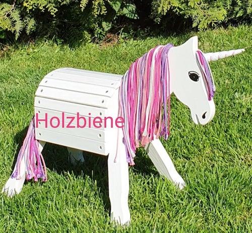 Holzpony Einhorn für den Garten