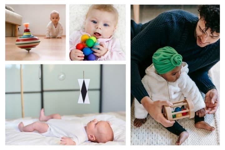Babys mit verschiedenem Montessori Babyspielzeug und Material