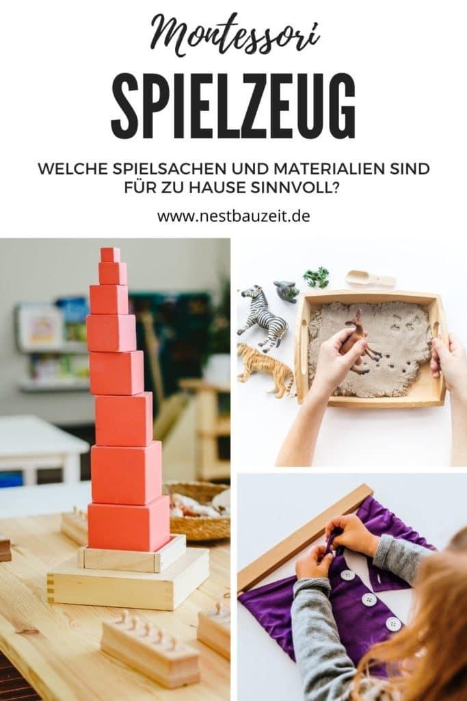 Pinterest-Bild mit verschiedenem Montessori Spielzeug und Material: Ankleiderahmen, Rosa Turm und realistische Tierfigur.